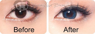 Before and after Hurricane Blue (HC102) circle lenses by Geo.