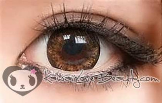 Brown circle lenses up close. Geo WFL-A54 15.0mm brown colored contacts.