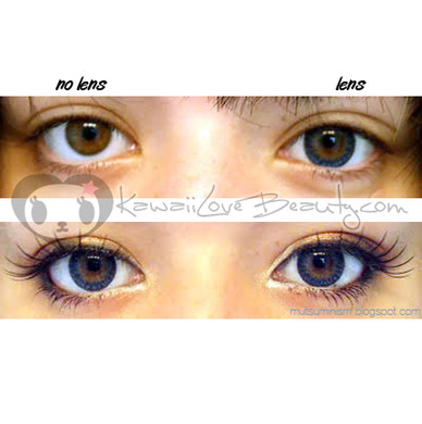 Before and after: Visibly larger-looking eyes with Geo CM-952 Berry Holic circle lenses.