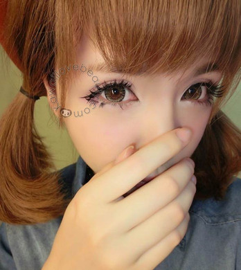Get a super dolly eye look with Geo WTB74 Xtra Berry 3-Tone brown circle lenses.