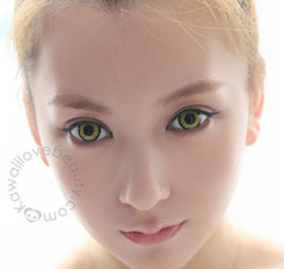Twilight Yellow soft colored contacts by EOS Dolly Eye.
