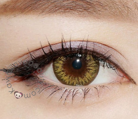 Bright yellow-hazel color with Moonlight circle lenses by Colors of the Wind