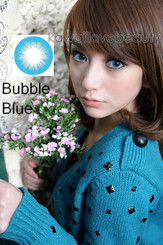 Model photo, Barbie Bubble Blue color contact lens.