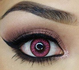 Vibrant colored contacts in Pink Lady by i-Codi Korea.