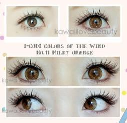 Vibrant colored contacts in Milky Orange by i-Codi Korea.