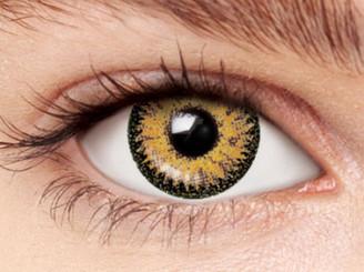 Design detail on Nudy 3 Tone brown circle lenses.