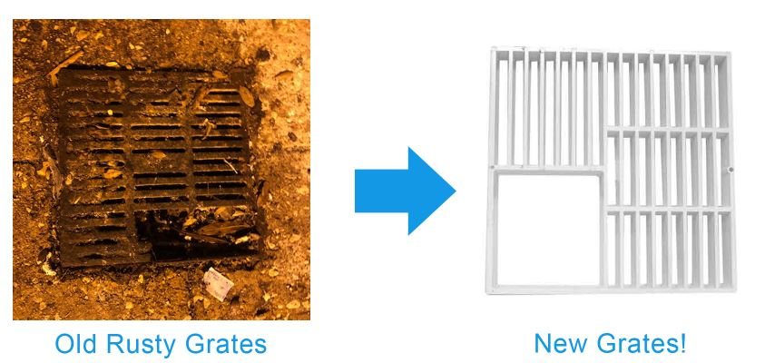 replace damaged floor drain grates