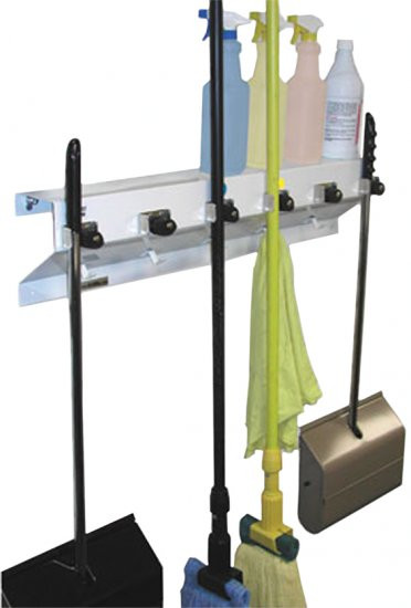 Mop And Broom Organizer Wall Mounted Drain Net