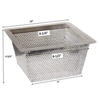 "Stainless Steel Strainer Basket - 10"" x 10"" x 5"""