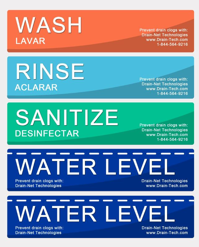 Accomplished image within wash rinse sanitize printable signs