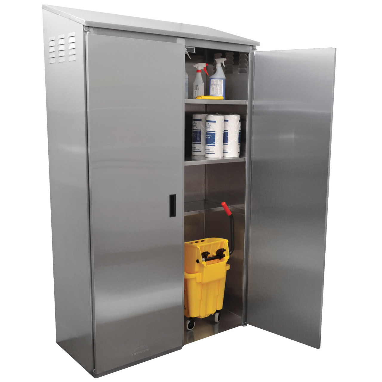 Stainless Steel Kitchen Cabinets Price: Stainless Steel Double Width Mop Sink Cabinet With Right