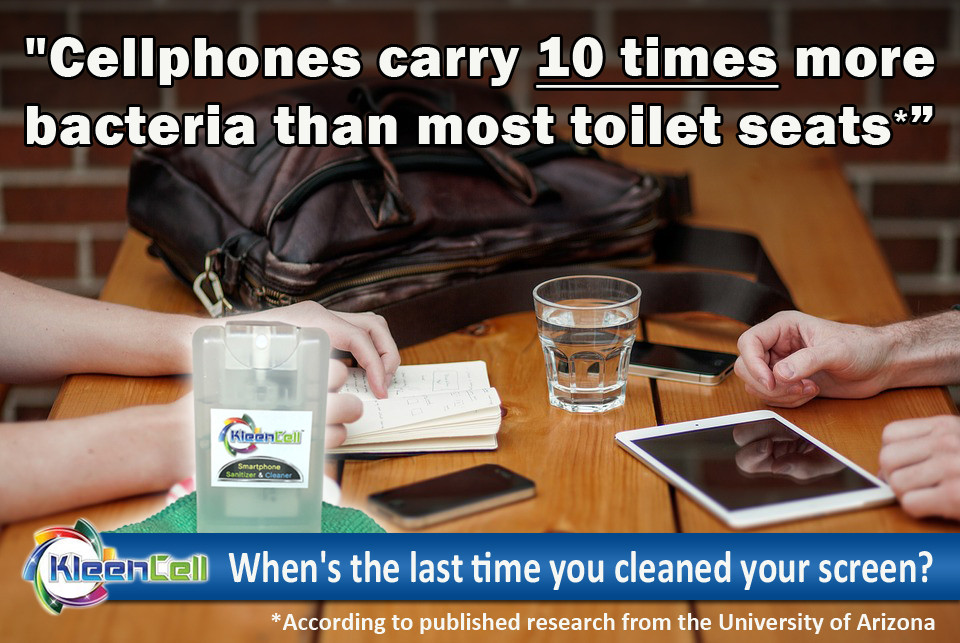 KleenCell cleans and sanitizes screens and tablets