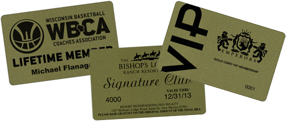gold plastic cards