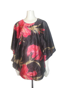 POYZA Vintage Fabric Made Black Multi-color Big Floral Print Scoop Neck Multi-F Caftan Blouse Mini Dress