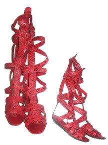Vintage Rare Stunning Coral Snake Skin Gladiator Strappy Peep Toe Caged Wedge Low Heels Sandals Shoes