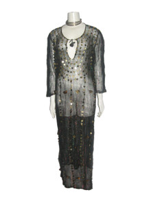 Vintage Black Multi-color Metallic Striped Sequins See Through Caftan Dress