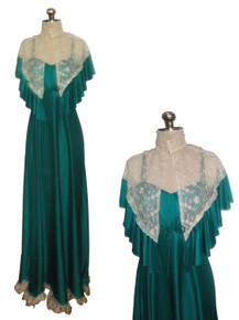 VTG 2pc Outfit Green Strappy Empire Lace Ruffle Tier Long Grecian Disco Goddess Dress Matching Ruffle Flounce Mesh Lace Cape Cover-up Jacket