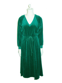 Vintage Styled By Saybury Hunter Green VNeck Drawstring Waist Velour Dress