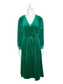 Vintage Styled By Saybury Hunter Green VNeck Drawstring Waist Velour Dress