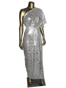 POYZA Metallic Silver Foil Snake Print Lace Asymmetrical One Shoulder Fan Sleeve Belted Long Dress w/ Matching Mask