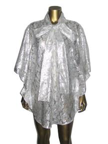 POYZA Metallic Silver Foil Snake Print Lace Tie Neck Circular Short Caftan Dress