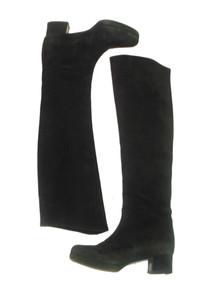 Vintage Designer Prada Black Tall Suede Leather Knee High Mod Boots