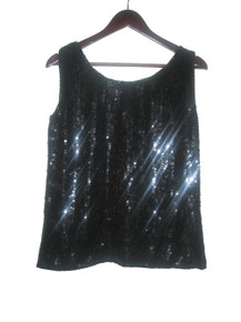 Vintage Black Candlelight By Jainson's International Sequins Beads Sleeveless Scoop Neck Blouse Top
