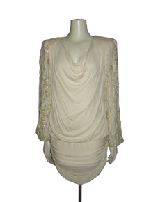 Vintage Cream Sequins Bead Lace Sleeve Cowl Neck Draped Ruched Tulip Dress