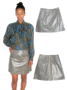 Vintage Grey Gold Double Side Separaing Zipper Closure Lined Short Leather Skirt