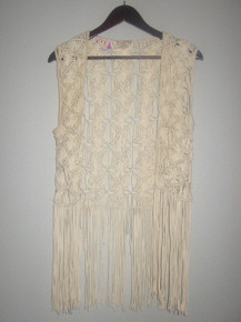 Vintage Billa Bong Designer's Closet Natural Macrame Crochet Sleeveless Fringe Vest