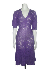 Vintage Purple V-Neck Elbow Sleeve  Scallop Pointelle Mix Stitch Sweater Knit Fit & Flare Long Dress