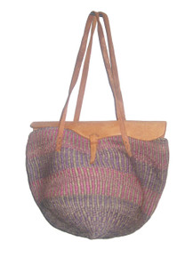 Vintage Hippie Boho Large Woven Straw Multicolor Leather Flap Closure Handbag w/ Double Handle Straps