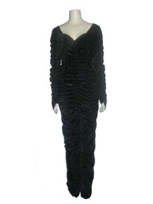 Vintage Black Coffin Queen Shirred Crushed Panne Velvet Long Dress