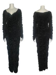 Vintage Black Coffin Queen Shirred Crushed Panne Velvet Long Dress