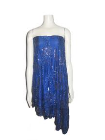 Vintage Blue Sequins Beads Embellished Jagged Edge Asymmetrical Silk Tube Dress