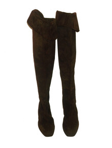 Vintage Designer Prada Brown Tall Suede Leather Cuffed UnCuffed Knee High Mod Boots