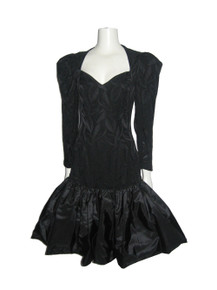 Vintage Louisa Nevins Black Leaf Print Cut Out Back Silk Taffeta Party Cocktail Dress