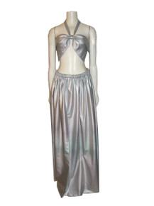 POYZA 2pc Ensemble Denim Silver Metallic Foil Tie Neck Bustier Halter w/ Matching Long Gathered Skirt