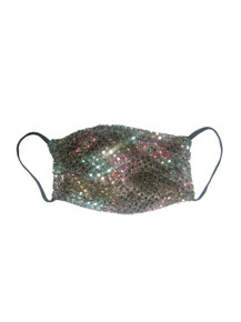 POYZA Made in USA Metallic Lurex Multi-Color Sequins Dot Reversible Face Mask