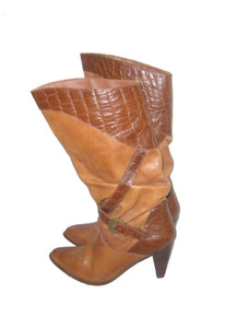 Vintage Wild Pair Tan Brown Two Tone Leather Boots