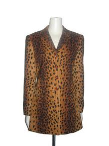 Vintage Alberto Makali Cheetah Animal Print Fitted Buttoned Lined Blazer Tuxedo Jacket Dress