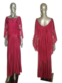Vintage Absoulutely Stunning Magenta Pink See Thru Floral Lace Overlay Pleated Long Grecian Disco Dress