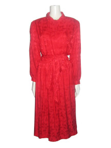 Vintage Lorenzo Red Floral Silk Jacquard Pleated Gathered Belted Secretary Dress