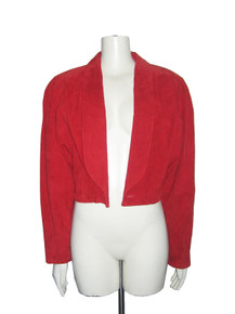 Vintage Wilson NWT Red Short Cropped Shawl Collar Tuxedo Suede Jacket