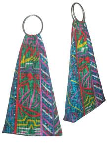 POYZA Made in USA Vibrant Multi-color Random Print Large Metal O-Ring Handle Fabric Tote Handbag