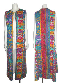 POYZA Made in USA One Of A Kind Vibrant Multi-color Random Print Tie Neck Sleeveless Long Duster Statement Jacket Dress