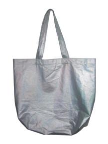 POYZA Denim Silver Metallic Foil Fabric Multi-functional Shoppers  Tote Handbag