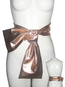 POYZA Denim Rose Gold Metallic Foil Fabric Multi-functional Wide Sash Belt Scarf etc.