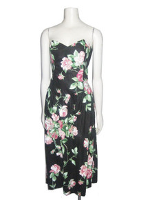 Vintage Linea Moda Made In USA Black Multicolor Floral Print Cotton Strapless Gathered Flared Grunge Party Sun Dress