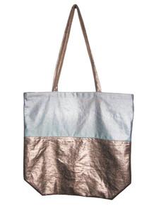 POYZA Denim Rose Gold Silver Metallic Foil Fabric Color Block Multi-functional Shoppers  Tote Handbag